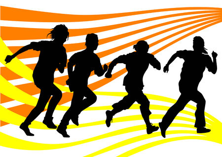 Vector drawing running athletes. Silhouettes of people background Vector
