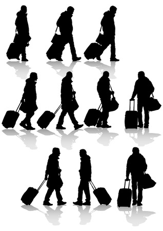 carry: Vector drawing travelers with suitcases. Silhouettes on white background