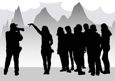 Vector image of young photographers with equipment at work Stock Vector - 8755466