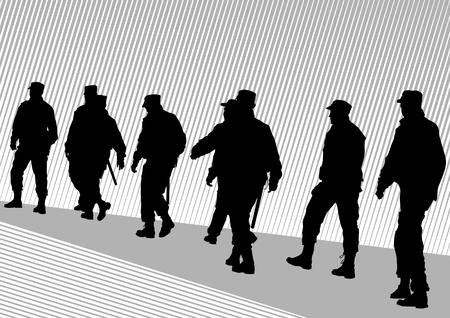 Vector image of police on street during Stock Vector - 8755468
