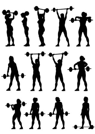 weight weightlifting: Vector image of young athletic women with a heavy barbell