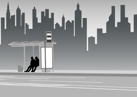 Vector teken menigte bij halte van het openbaar vervoer