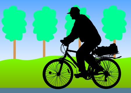Vector drawing old man on bicycle Vector