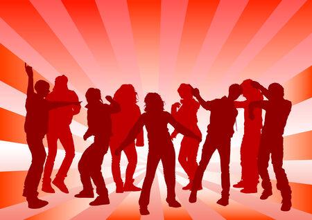 Vector image of young people. Dancing in nightclub Stock Vector - 8755593