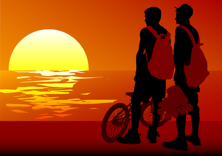 Vector image of cyclists at sunset Vector