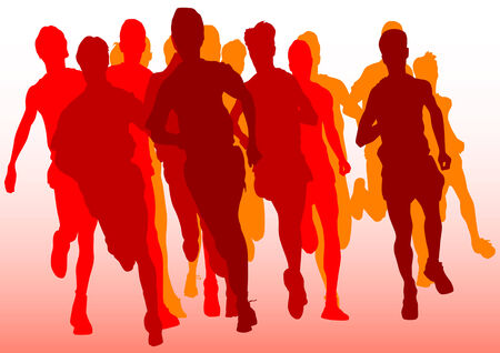 Vector drawing running athlete. Silhouette of sports people Vector