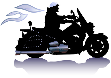 Vector drawing men to big motorcycle. Silhouette on white background Vector