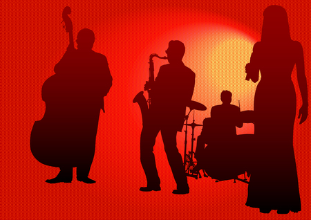 Vector drawing concert of jazz music. Silhouettes on color background