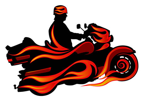 Vector drawing motorcycl on red fire. Silhouette on a white background