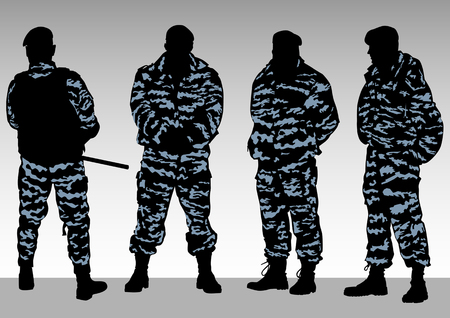 cordon: Vector image of police officers in camouflage
