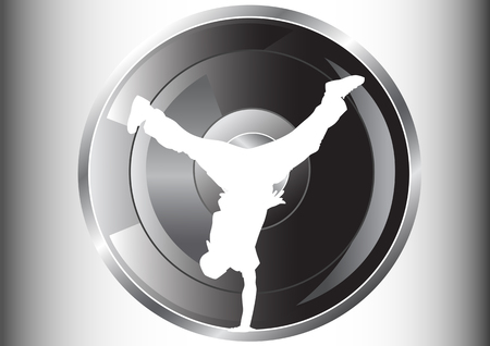 Vector image of hip hop dancer. Silhouette on background of musical instruments Vector