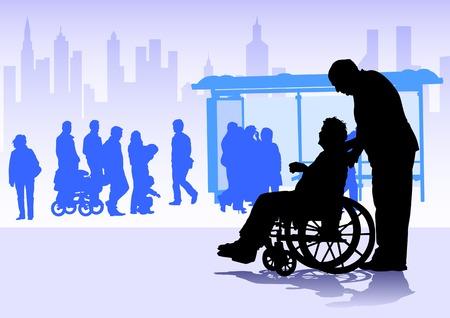 abuelo: Vector gráficos discapacitados en silla de ruedas. Siluetas de personas