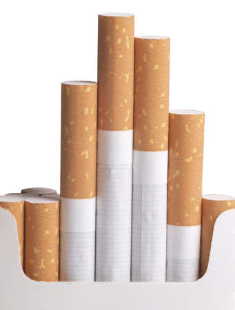 pernicious: a cardboard packet and filter cigarettes