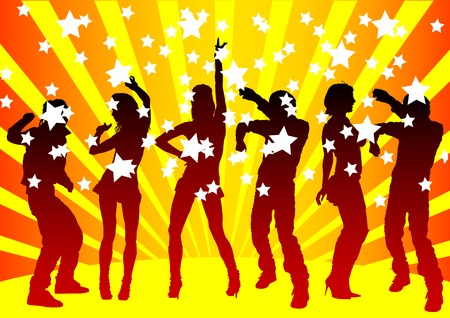Vector image of young people. Dancing in nightclub Vector