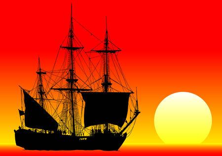 a battleship: drawing old sailing ship Illustration