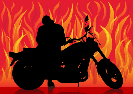 drawing a motorcyclist on a background of red fire Vector