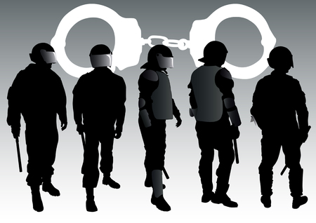 handcuffs: graphic group of special police forces and handcuffs