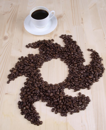coffee beans and a white cup Stock Photo - 8865049