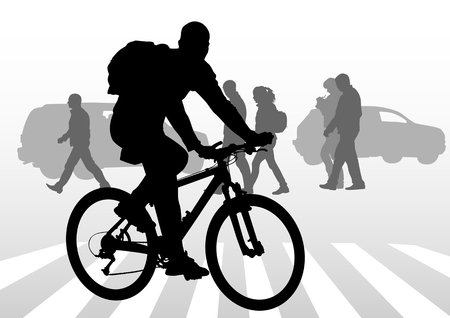 pedestrians: silhouette of a cyclist boy. Silhouette of people