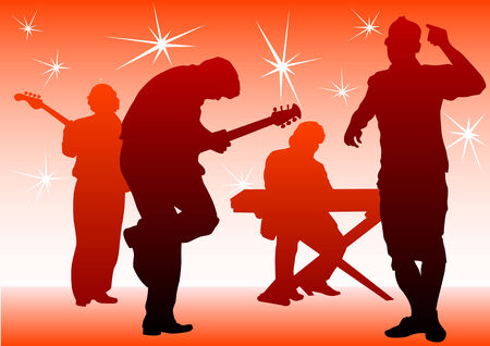 musical group in concert on stage Stock Vector - 8865082