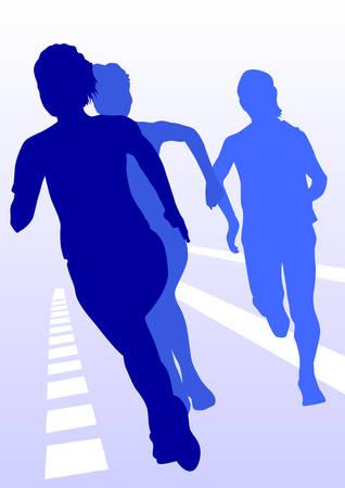 runing: competencia sobre la mujer de asustados Vectores