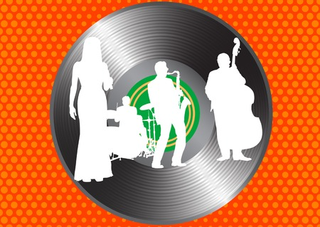 Vector drawing jazz orchestra in background of a vinyl disc Vector