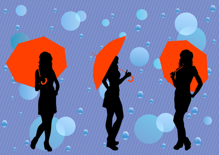 image of rain drops and a girl with umbrella Vector