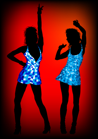 image of young girls in bright dresses on red background Vector