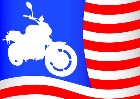 drawing a motorcyclist on a background of red flag Vector