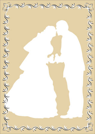 drawing of the bride and groom in frame Vector