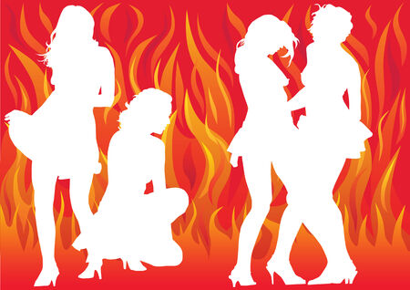drawing dancing girl on a flame background Stock Vector - 8980035