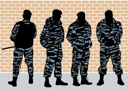 image of police officers on brick wall Vector