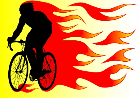 cycle race: drawing silhouette of a cyclist boy in fire Illustration