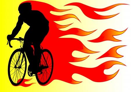 tekening silhouet van een fietser jongen in brand