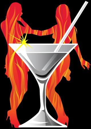 drawing martini glass in a nightclub Vector