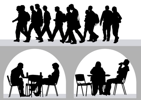 urban people: drawing people in cafes. Silhouettes of people in urban life