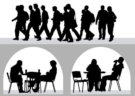 tekening mensen in cafés. Silhouetten van mensen in het stedelijke leven