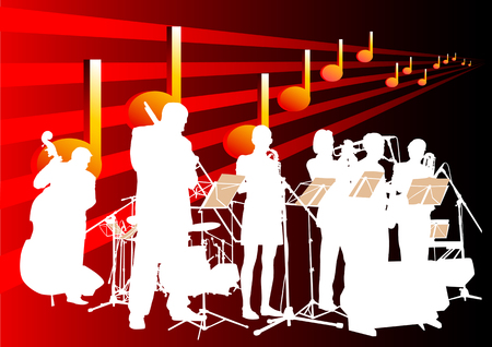 jazz music: drawing music classic orchestra. Artists on stage Illustration