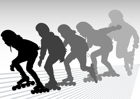 roller skates: drawing  athletes on skates. Silhouette people