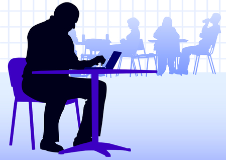worker silhouette: businessman with a laptop at a table in a cafe