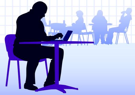 internet cafe: hombre de negocios con un port�til en una mesa en un caf�