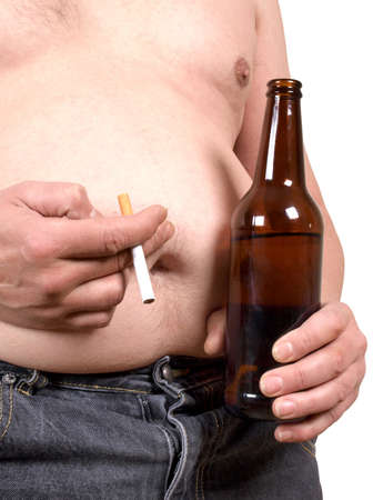 alcoholic man: a fat man with a beer and a cigarette