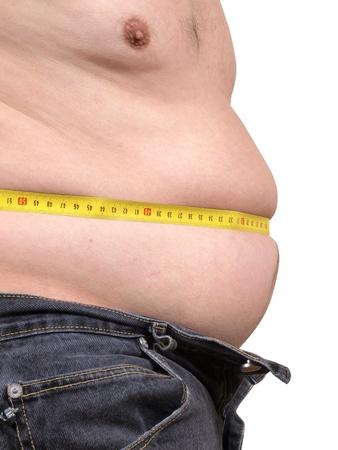 measure waist: Color photograph measuring male abdomen