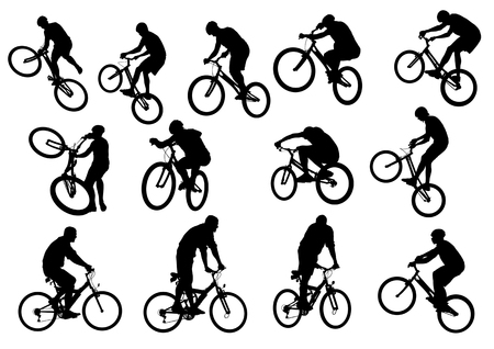 cycling race: a cyclist boy. Silhouette of people