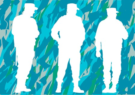 dispersal: police officers on camouflage Illustration