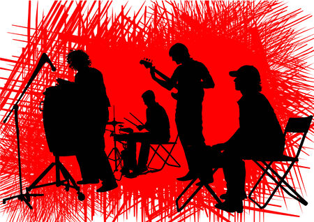rock band: Vector drawing musical group in concert on stage