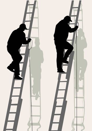 labour: working on a high ladder against wall