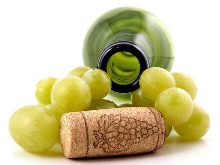 branch of grapes and bottle caps        photo