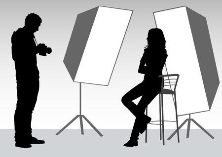 photographer and model in studio Vector