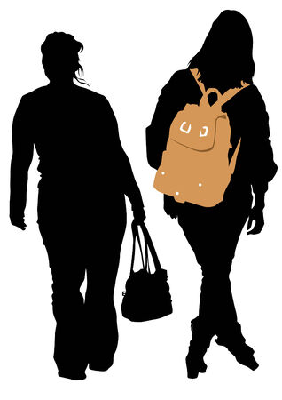 women with bags and backpacks Vector
